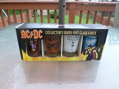 4 Pack 16 oz AC/DC Collectors Series Pint Drinking Glasses New in Box 2009