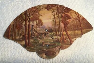 3 Panel Advertising Fan - Log Cabin Frick Funeral Home Marion Ill.