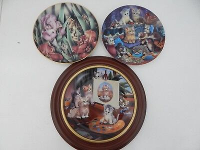 Decorative Collectable Cat Kitten Plates Bradford Exchange Lot of 3