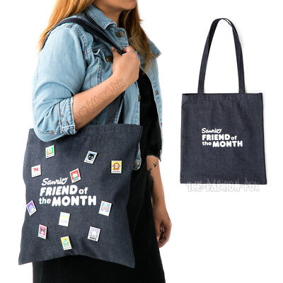 NWT Sanrio Hello Kitty Friend of the Month Collectible Pins Denim Jean Tote Bag