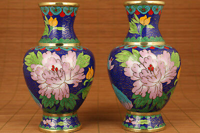 rare 2 big antique China old enamels cloisonne Hand Painting Peony Vase ornament