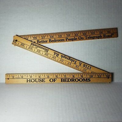 "Vintage 36"" Wooden Folding Ruler with Bedroom Advertising Telegraph Road"