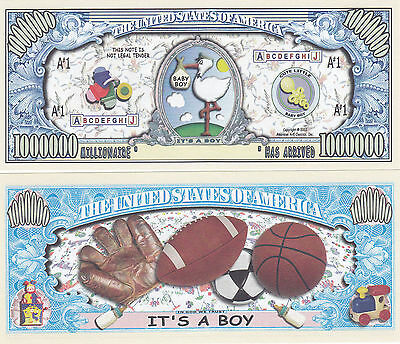 50 It's a Boy! Birth Announcement Keepsake Bills Lot