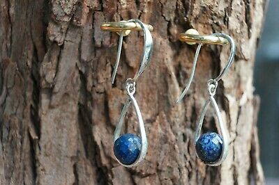 Lapis Lazuli Earrings Faceted Gemstone Ball Drop Fine Solid 925 Silver 4cmLength