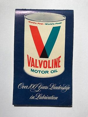 Valvoline Motor Oil Can Memo Book Notebook 100 Years of Lubrication Service