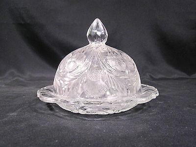 Mosser of Ohio Inverted Thistle Clear Covered Butter Dish