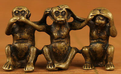 Ancient chinese Old Copper hand carving 3 Monkey statue figure Netsuke