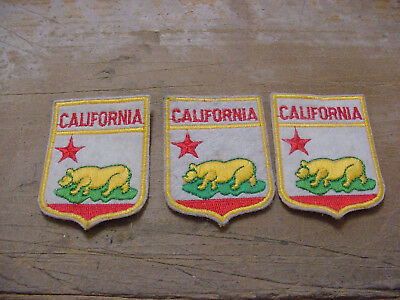 Vintage lot 3 California EMBROIDERED PATCH -GOLDEN BEAR on GREEN-Single Red Star
