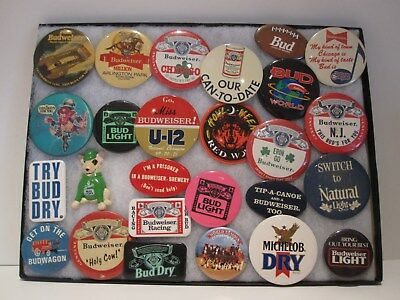 Vintage Budweiser Beer Collection Buttons/Pin Back Lot of 26 Pieces Spuds Busch