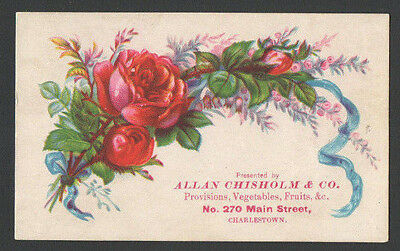 Victorian TradeCard PROVISIONS VEGETABLES FRUITS Charlestown Allan Chisholm & Co