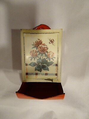 Metal Matches Stick Holder Red & White Wall Mount Vintage Holder Dispenser Match