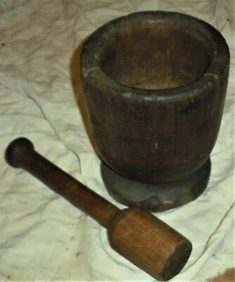 ANTIQUE EARLY 1780–1820 PRIMITIVE MORTAR & PESTLE WITH GREAT PATINA vafo