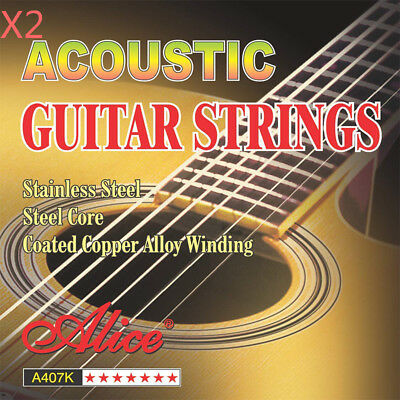 2 Set Alice Stainless Steel Anti-Rust Coating Acoustic Guitar Strings A407K-L