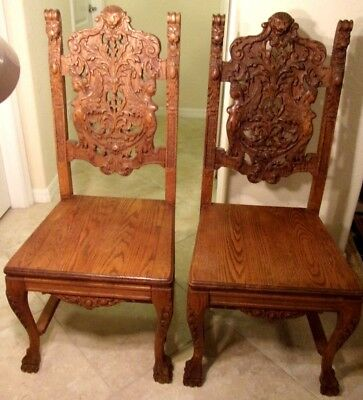 RARE Antique Pair of Woman Bust Royal High Back Lion Throne Chairs Pastor 45''H