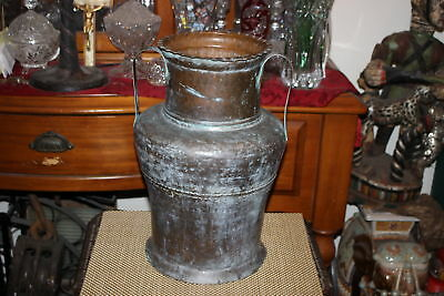 Large Antique Copper Metal Middle Eastern Chinese Double Handle Urn Pitcher Vase