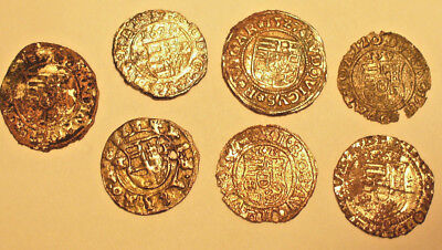 Hungary 7 silver medieval coins 'denar' 16th-17th century - nice lot!  #90