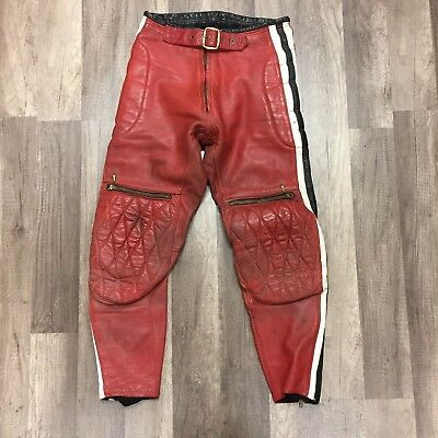 Vtg Bill Walters Leather Moto Pants Sz 28 Red Black Motorcycle
