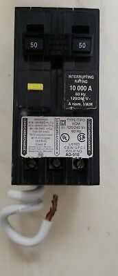 Circuit Breaker Square D Homeline Arc Fault 50 Amp 2-Pole GFCI Plug In Home