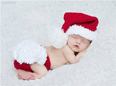 A2E4 Toddler Crochet Xmas Costume Button Baby Photography Prop Hat Outfit Hot