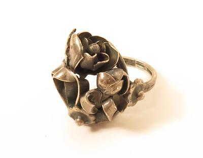 Vintage Gorgeous 3d Floral Flower Design Sterling Silver Ring*Size 5.25*925*F354