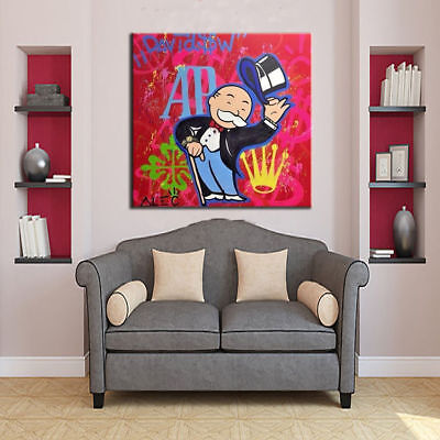 Alec Monopoly Oil Painting on Canvas Abstract Urban Art Wall Decor No Frame 24