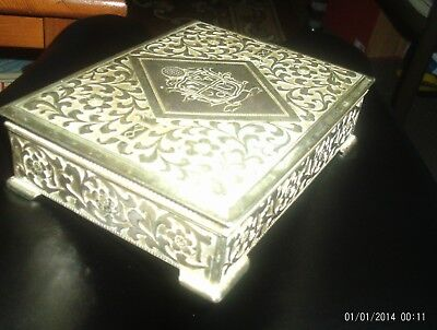Vintage  Metalware Box With Copper Imlay