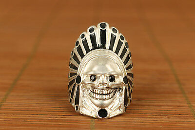 miao Silver carved nail Statue Old Private chief of a tribe Collection ring