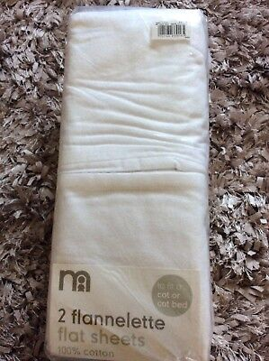 Mothercare 2 Flannelette Cot/cot Bed Sheets White Brand New In Packaging.
