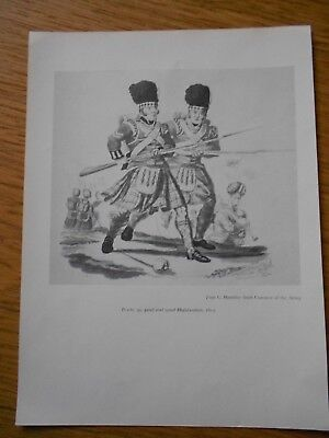 VINTAGE MILITARY PRINT-  42nd and 92nd HIGHLANDERS 1812 BY C HAMILITON SMITH