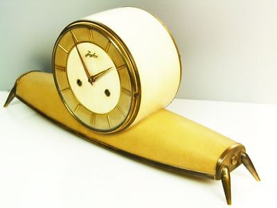 A Leather Beautiful Later Art Deco Chiming Mantel Clock From Junghans
