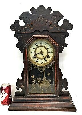 Antique Walnut Kitchen Clock WATERBURY NELSON shelf mantle wall