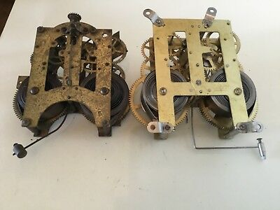 Vintage x 2  Clock Movements Workings  Steampunk