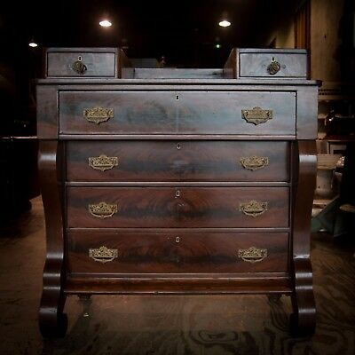 Antique Empire Style Flame Mahogany 1800's Chest of Drawers Dresser