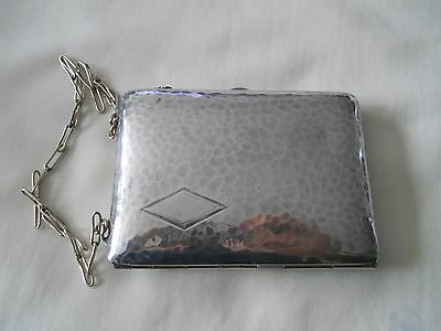 STERLING SILVER PURSE COMPACT w/ CHAINE