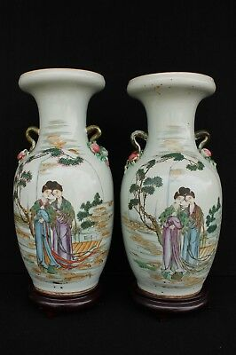 Great set famille rose vases with lady's ca. 1925 Republic period