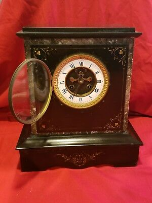 Antique S Marti Black Marble Slate  Open Escapement Mantel Clock