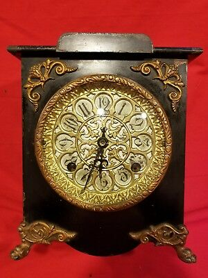 Antique New Haven Iron Enamel Mantel Clock