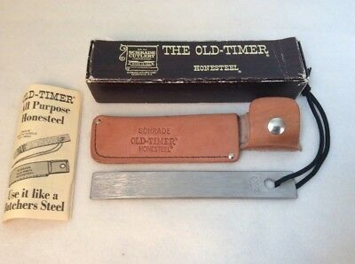 """Vintage Schrade Old-Timer Honesteel HS-1 D-227733 with Sheath 7"""" Box Papers"""