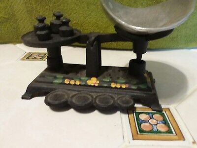 Vintage 6 In. Scoop & Scale Solid Cast Iron Candy Counter Balance Scale W/weight