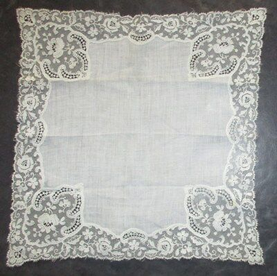 Beautiful Antique Victorian Lace Bridal Handkerchief - Creamy White from the UK