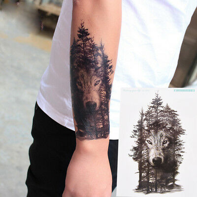 Waterproof Temporary Fake Tattoo Stickers Grey Forest Wolf Animals Large WQZY