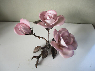 ALBANY FINE CHINA WORCESTER FLOWER ON BRONZE - Pink Roses