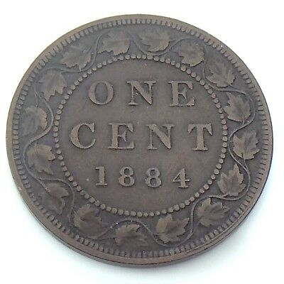1884 Canada One 1 Cent Large Copper Penny Canadian Circulated Coin G949