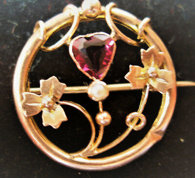 **REDUCED** Antique Gold Brooch with Heart shaped Ruby and Pearl