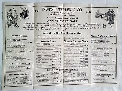 1921 Bonwit Teller Co Ad Fashion Flapper Anniversary Sale Fold Out Poster Rare
