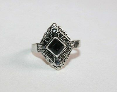Vintage Art Deco Style Pave Marcasite &lucite 'jet' Geometric Silver Plated Ring