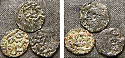 GOLDEN HORDE - 3 AE PUL COINS of JANI BEG (1341-1357 AD)