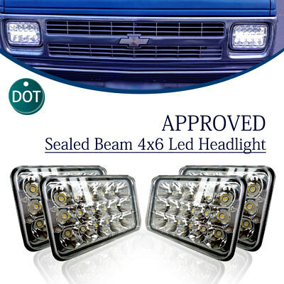 DOT Approved 4x6 Inch 45W LED Headlights For H6545 H4651 H4652 H4656 H4666
