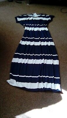 Nautical Ladies Long Maxi Navy and White dress size 12 BNWT