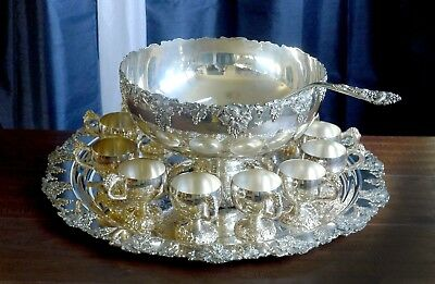 International Co Silver Plated Punch Bowl Set Grape Webster Wilcox VINTAGE PLAIN